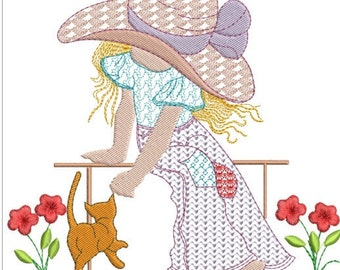 Holly hobbie on bench with kitty machine embroidery download 5 diff sizes ( 4x4  5x5  6x6 7x7 8x8)