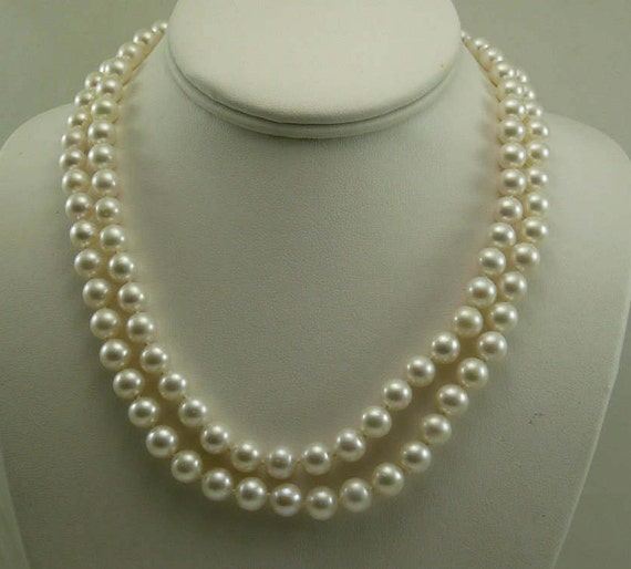 Freshwater White Pearl Double Strand Necklace with 14k Yellow Gold Clasp