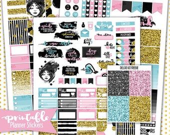 Happy Girls Deluxe Weekly Kit | PRINTABLE Planner Stickers | Pdf, Jpg, and Png Format | ECLP Vertical Planner Stickers