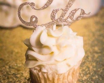 I do,  glitter wedding cupcake toppers (one dozen), wedding cupcakes, cake decorations