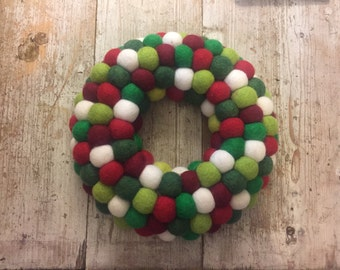 Christmas Felt Door Wreath, Festive modern wreath