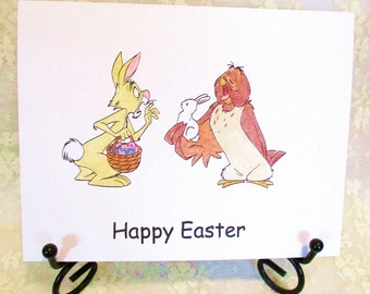 Rabbit and Owl Easter Card