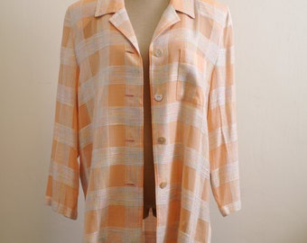 Vintage Orange tweed oversize summer blazer