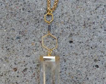 Crystal Quartz Hexagon Necklace