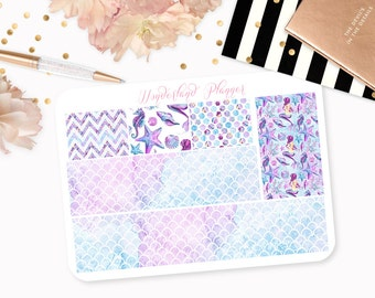 Watercolour Mermaid - Sea Life Themed Planner Stickers // Washi Strips // Perfect for Erin Condren Vertical Life Planner