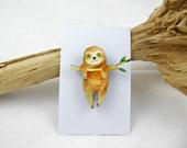 Hanging Sloth Brooch