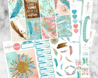 W182 Fluttering Peacock HAPPY PLANNER Weekly Kit, Planner Stickers, Sticker Kit, Gold Stickers, Peacock Stickers, Feather, UK Stickers
