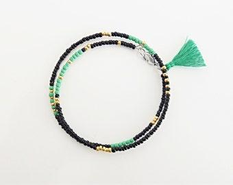 green & black bracelet, friendship bracelet,bohemian jewelry,beaded bracelet