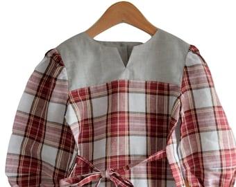 Red Tartan linen dress