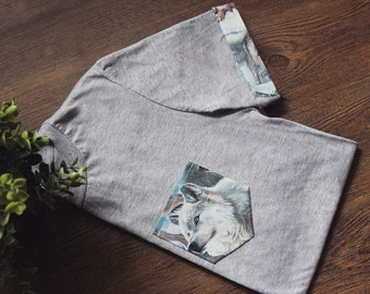 Winter Wolf Unisex T-Shirt Pocket & Sleeves