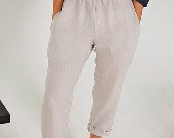 Ivory linen pants - Linen pants with pockets - Women's Linen pants - Soft linen casual pants -  Washed women linen trousers
