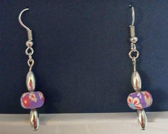 Purple flower  bead with silver bead and silver fishhook