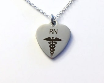 Gift for Male Nurse RN Necklace, Nurse's Jewelry, Laser Engraved Stainless Steel, 925 Sterling Silver Long or Short Chain Man Men Graduation