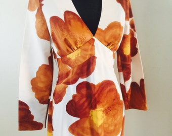 Tori Richard Vintage 70's Hawaiian Maxi Dress/Long Floral Dress/Tropical Dress/Women's Island Dress/Polynesian Dress/Giligans Island