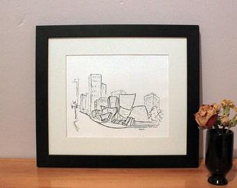Los Angeles Print, Los Angeles Skyline Print, Disney Concert Hall, Wall Art, Sketch Art, Art Print, Sketch Print, Art Print Black and White