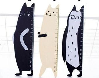 Cat Ruler, Cute Kawaii Stationary, Writing Supplies, Wooden 15cm