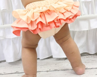 Coral Gradient Ruffled Baby Bloomer | Coral, Peach Ruffled, Girly, Baby Girl Diaper Cover
