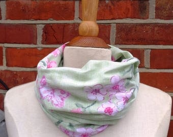 Green Cherry Blossom Fabric Infinity Scarf, Infinity Scarf, Ladies Scarves, Loop Scarf, Womens Scarves, Circle Scarf, Tube Scarf, Gift Idea