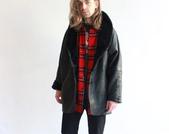 Vintage 80's Luxurious High Quality Black Leather Shearling / Sheepskin Coat