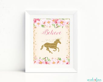 Unicorn Print, Unicorn Party Sign, Gift for Kids, Unicorn Gift, Believe Unicorn Printable Art, Unicorn Party Sign, Unicorn Birthday Decor