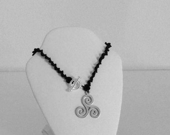 Tatted Necklace with Triskele Pendant