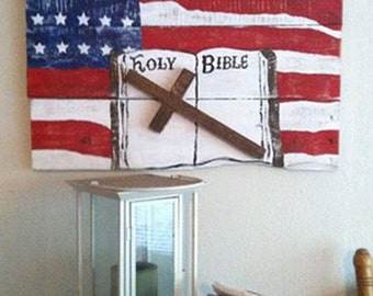 Bible Verse Sign - American Flag Sign - Patriotic Sign - Country Decor - 4th of July - God and Country Sign - Birthday Gift - July 4th Gift