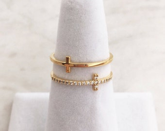 Double Cross Ring, Crystal Encrusted Cross Stacking Ring, Dainty ring , Delicate ring, Stacking Ring, Adjustable ring, Cross ring, xmas gift