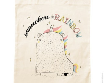 Organic cotton Tote Bag * cat Horn *.