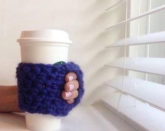 Coffee Cozy | Crochet Coffee Cozy |  Coffee Sleeve - Colbalt