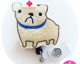Feltie Badge Reel - Pug Dog -  Badge Holder - Retractable Badge Reel - ID Badge Clip - Nurse - RN Badge -  Badge - Mysweetbadge