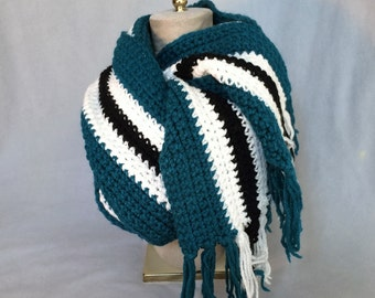Traintrack Striped Crochet Jumbo Scarf