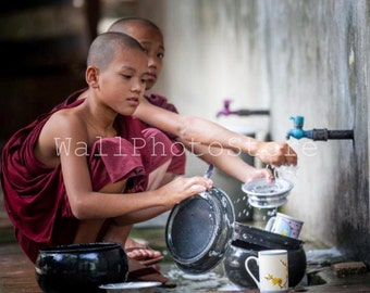 Young Buddhist Monks, Monk Photography, Myanmar Photography, Buddhism, Asian Wall Art, Myanmar Art, Travel Photography, Monk Poster