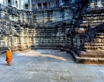 Cambodia Photography, Buddhist Monk in Angkor Wat Temple, Cambodia Print, Asia Art, Travel Photography, Fine Art Print, Wall Picture Print