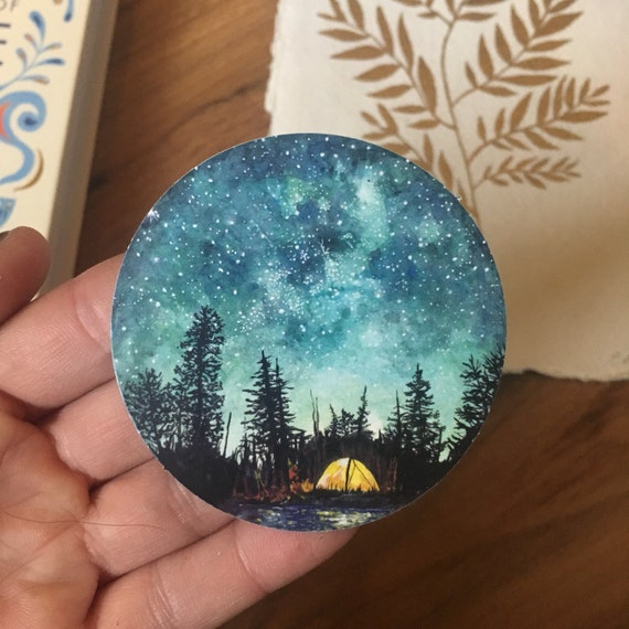 Watercolour Camping Sticker
