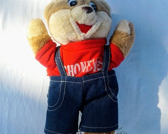 Original Shoney Bear, 1986 with tags, Shoney's Bear, eighties toys vintage collectables Rathgar's Collectables, teddy bear stuffed plush toy