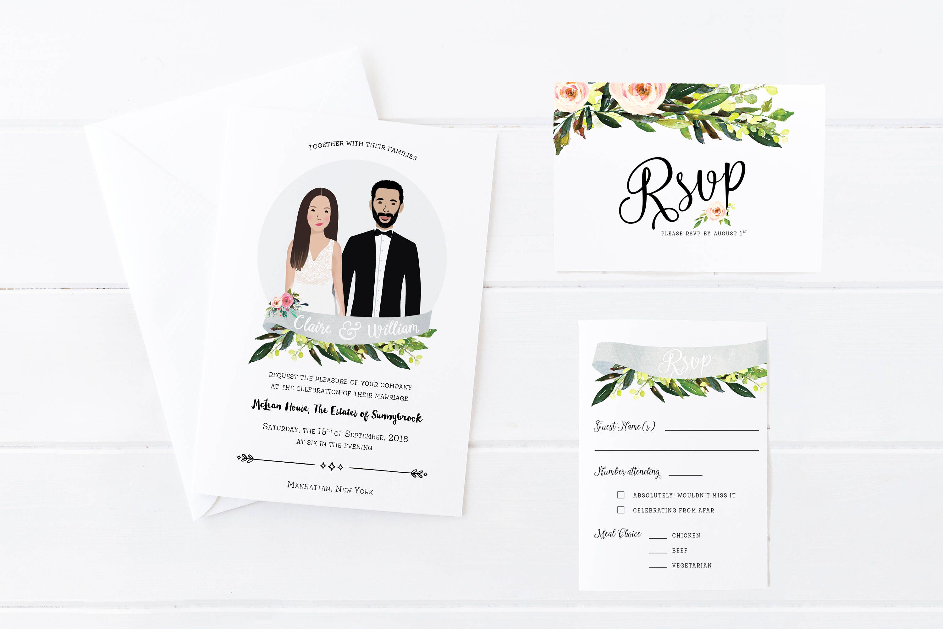 Wedding Portrait Invitations Custom Illustration Wedding