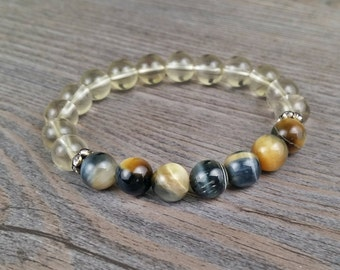 Citrine A quality and yellow-blue tiger eye gemstone bracelet crystals rings