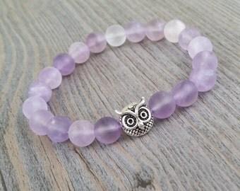 Amethyst stones bracelet lavender 8mm - silver owl