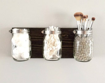 Mason Jar Holder, Mason Jar Rack, Makeup Organizer, Mason Jar Decor, Bathroom Organizer, Bathroom Storage