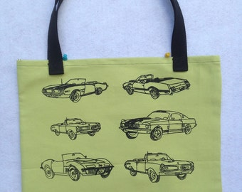 Muscle Car Bag-Muscle Car Gift-Classic Cars Bag-Classic Cars Gift-Shopping Bag-Car Tote Bag-Hand Drawn Canvas Bag