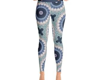 Ocean Blue Mandala Yoga Leggings - Mandala Print Tights, Blue and White Bohemian Leggings, Patterned Tights