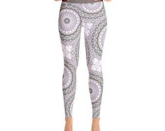 Yoga Pants Womens. Pink and Gray Leggings. Mandala Print Yoga Leggings. Art Tights. Mandala Flower Leggings