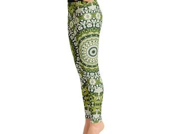 Green Printed Leggings. Womens Leggings. Green Mandala Yoga Leggings. Mandala Pants. Yoga Pants. Yoga Tights