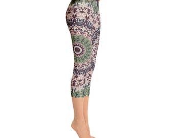 Capris - Boho Festival Mandala Yoga Pants, Unique Burning Man Clothing Women, Hooping Clothes, Dance Leggings