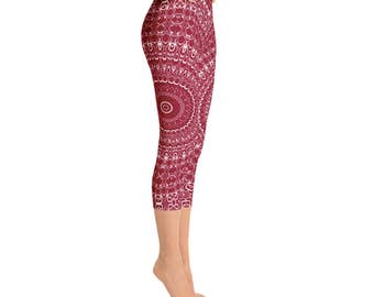 Yoga Capri Leggings - Unique Yoga Pants, Burgundy Leggings