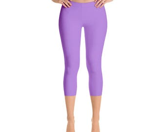 Capris - Lavender Leggings, Mid Rise Waist Workout Pants, Womens Yoga Leggings