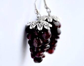 Garnet Earrings, Grape Cluster Raw Garnet Earrings, Deep Red Grapes Earrings, Semiprecious Jewelry, January birthstone, Gift for her, Ruby