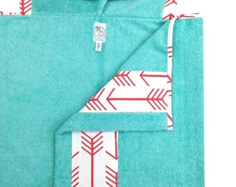 Coral Arrows Hooded Towel Mint Coral
