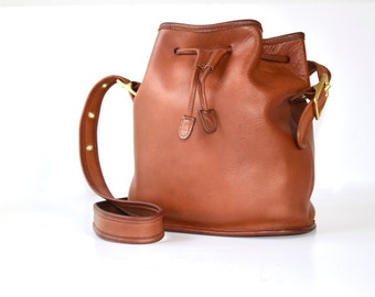 Vintage COACH Lula's Legacy Drawstring Boho Bohemian Bucket Duffle Handbag No. 9952 - Whisky Brown British Tan - Made in the US