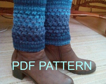 Leg warmers PATTERN, PDF knit ankle warmers, Knitted  boot cuffs PDF pattern, Boot toppers knit instructions, Knitting tutorial leg warmers